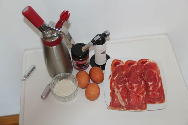 ingredientes del bocadillo inverso de jamón serrano