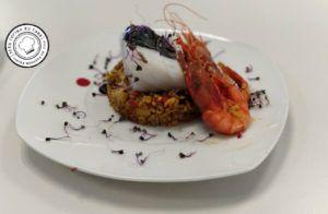 Bacalao con arroz de gamba roja
