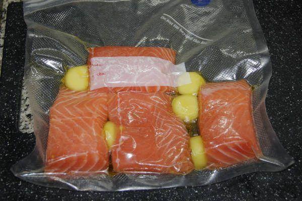 bolsa de vacío para el salmóna baja temperatura con caviar de cítricos