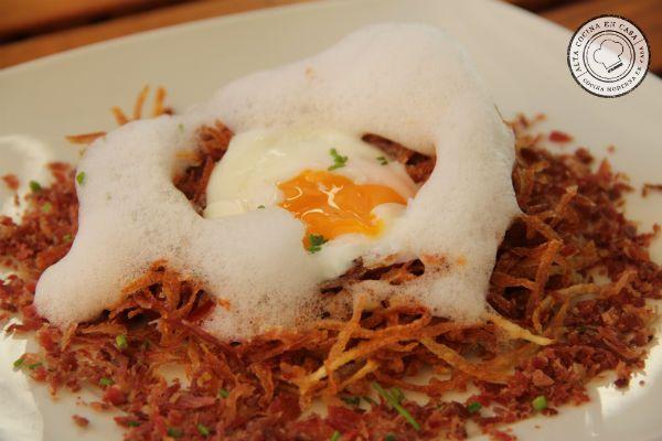 huevos rotos con jamón a baja temperatura