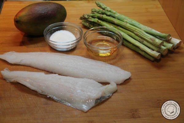 ingredientes para el gallo a baja temperatura con salsa de mango