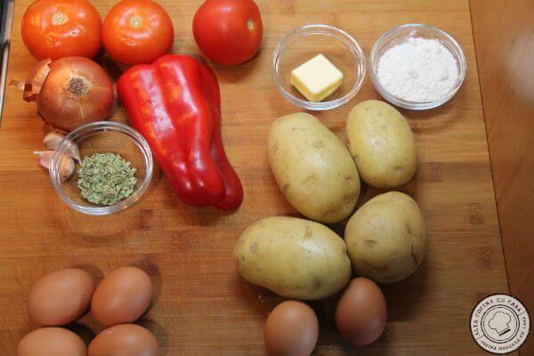 ingredientes para huevo a baja temperatura con ñoquis y salsa de tomate