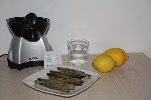 Ingredientes para navajas a la plancha con aire de limon