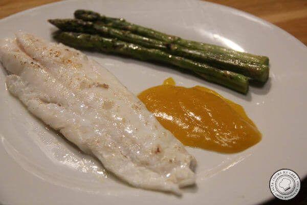 receta gallo a baja temperatura con salsa de mango